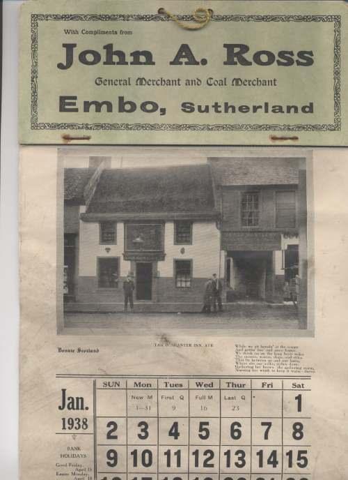 1938 calendar John Ross Embo
