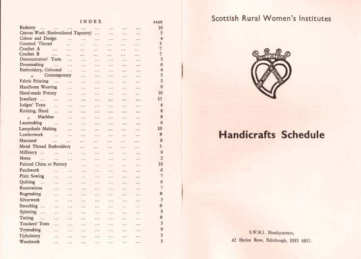 SWRI Handicrafts Schedule