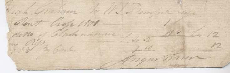 Rent receipt Hugh Graham 1801