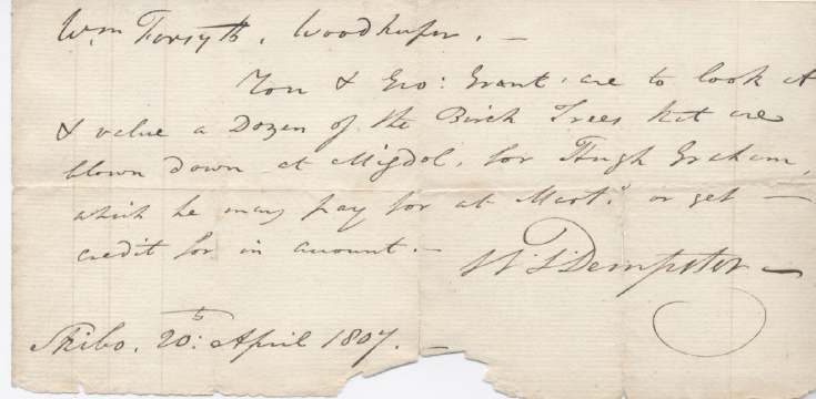 Note re trees at Migdale 1807