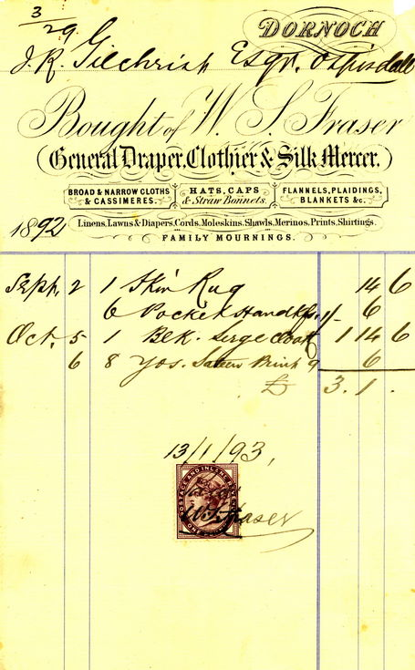 Invoice from W S Fraser to J R Gilchrist, Ospisdale