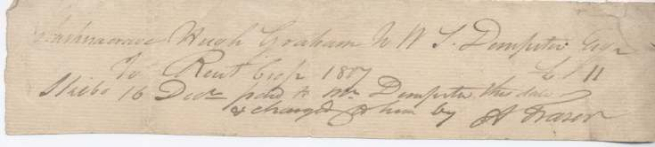 Rent receipt Hugh Graham 1807