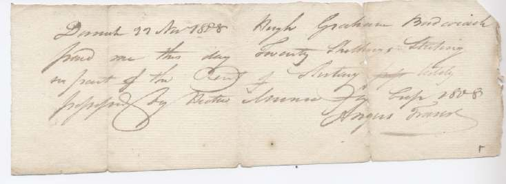 Rent receipt Hugh Graham 1808