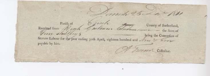 Statute labour Hugh Graham 1810