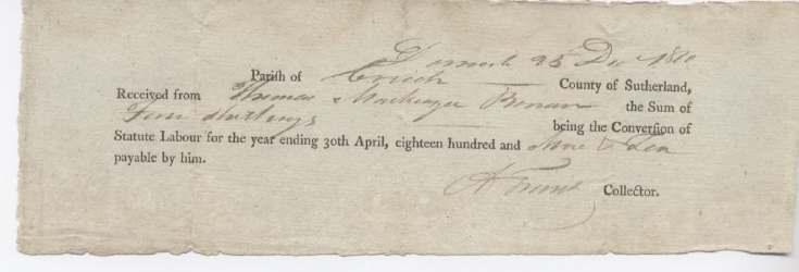 Statute labour Thomas Mackenzie 1810