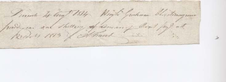 Rent receipt Hugh Graham 1814