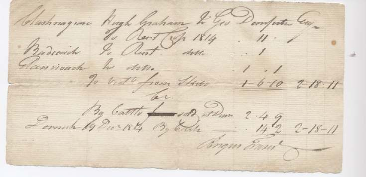 Rent receipt Hugh Graham 1814