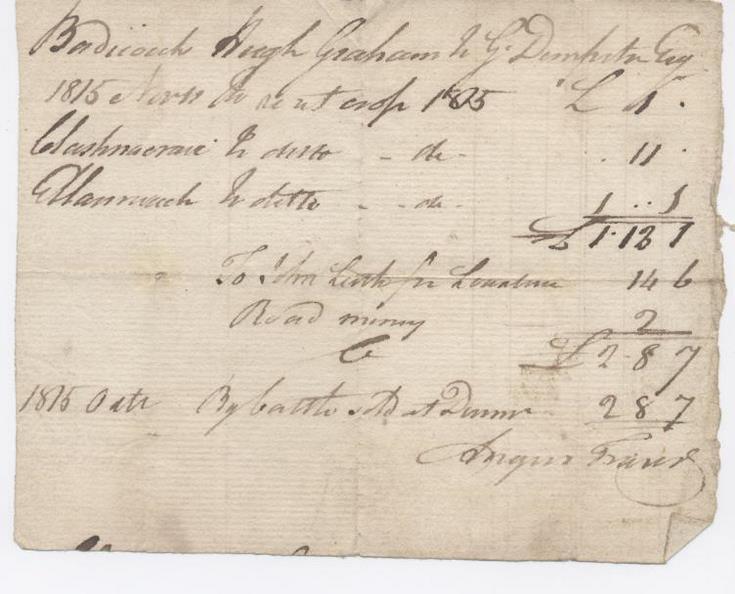 Rent receipt Hugh Graham 1815