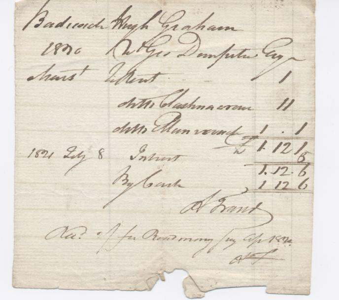 Rent receipt Hugh Graham 1821