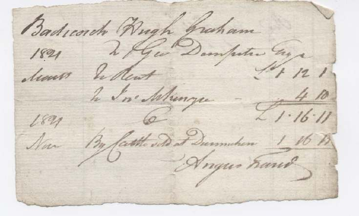 Rent receipt Hugh Graham 1821