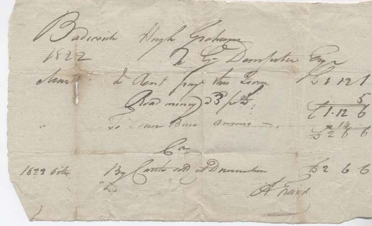 Rent receipt Hugh Graham 1822