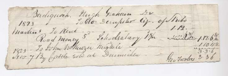Rent receipt Hugh Graham 1823