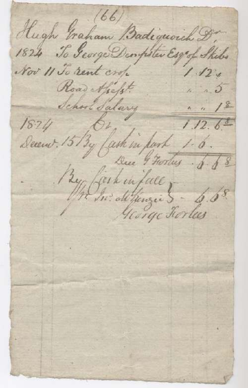 Rent receipt Hugh Graham 1824