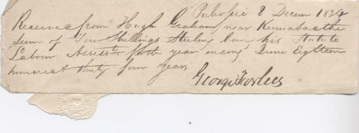 Statute labour receipt Hugh Graham 1824