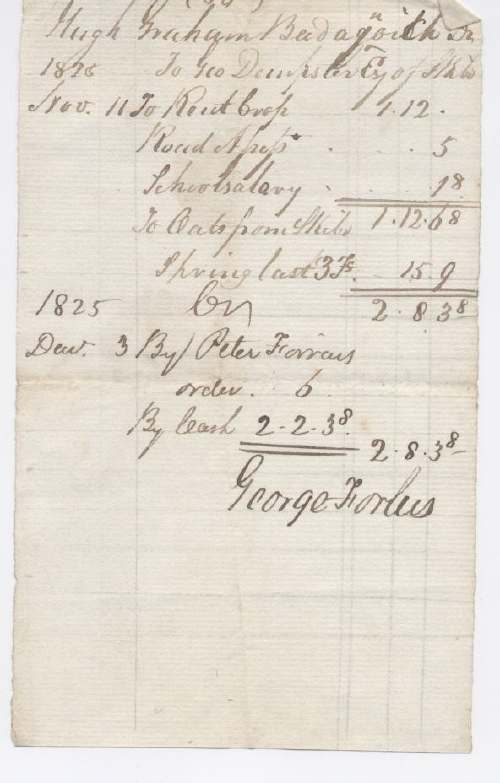 Rent receipt Hugh Graham 1825