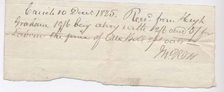 Labour receipt Hugh Graham 1825
