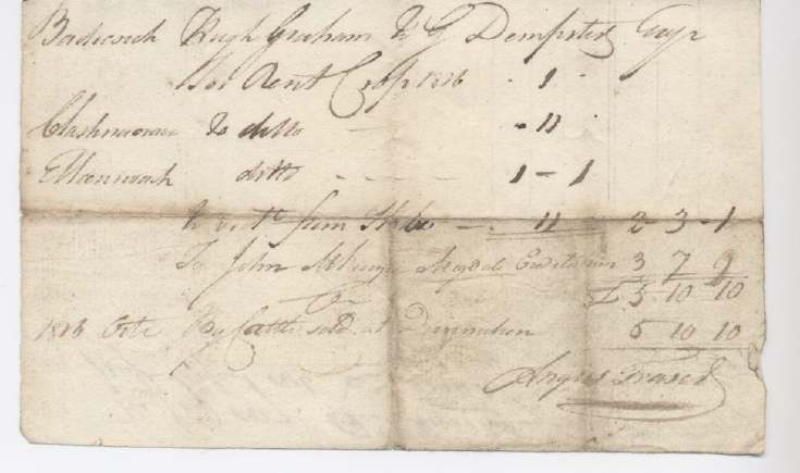Rent receipt Hugh Graham 1826