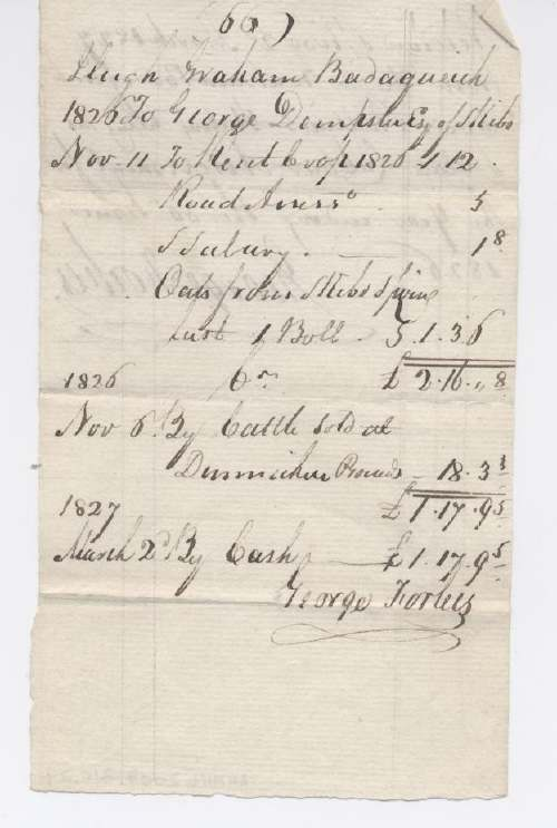 Rent receipt Hugh Graham 1826