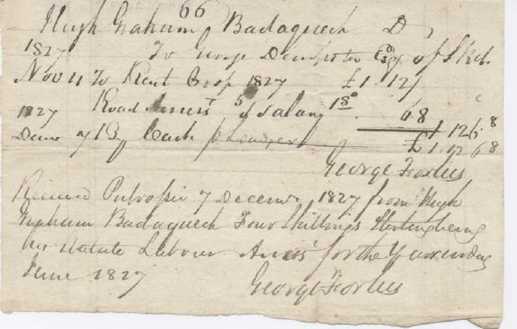Rent receipt Hugh Graham 1827