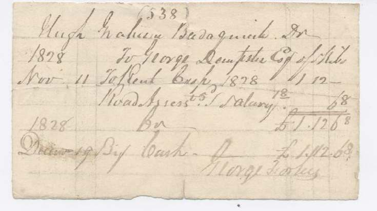 Rent receipt Hugh Graham 1828