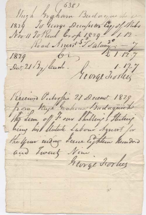 Rent receipt Hugh Graham 1829
