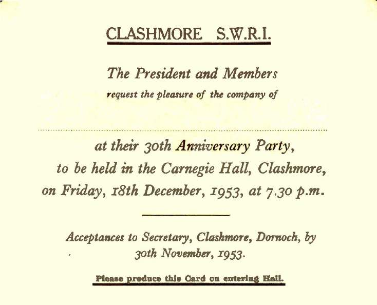Clashmore SWRI ~ 30th Anniversary Invitation