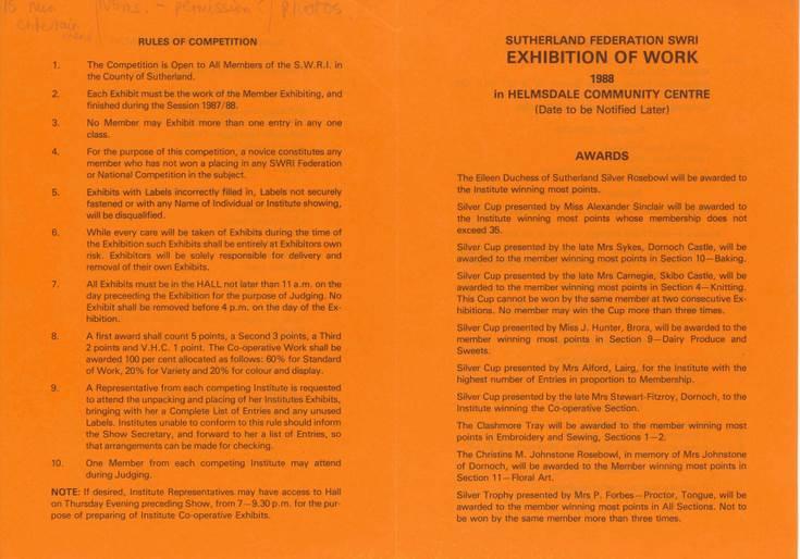 Sutherland Federation SWRI Exhibition of Work & Produce