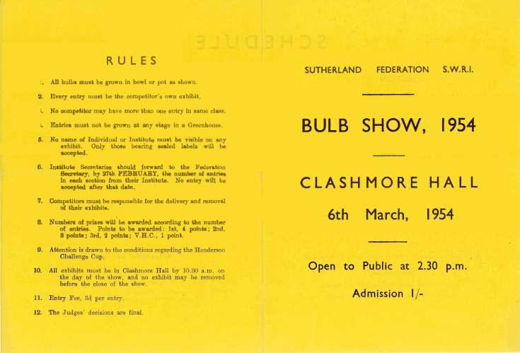 Sutherland Federation SWRI Bulb Show 1954