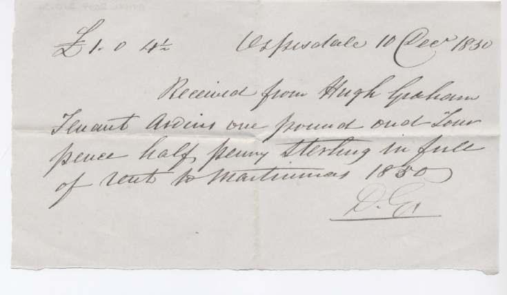 Rent receipt ~ Hugh Graham 1830