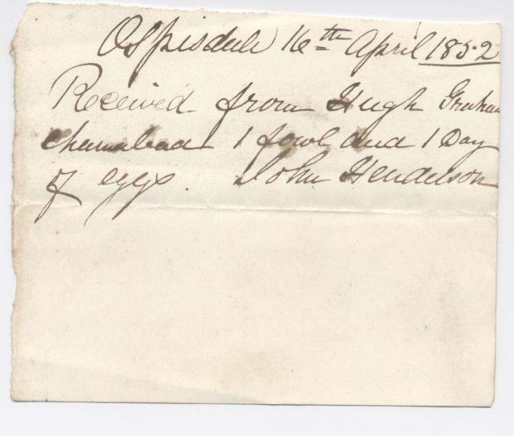 Rent receipt ~ Hugh Graham 1832