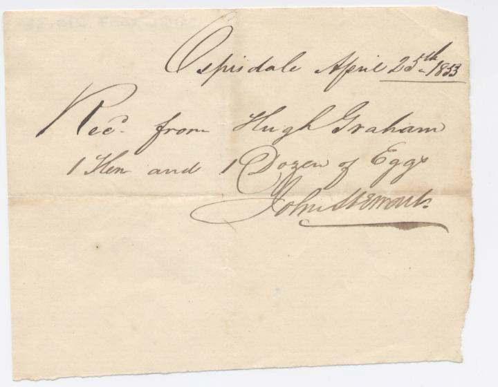 Rent receipt ~ Hugh Graham 1833