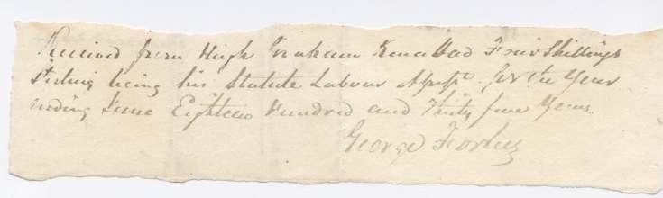 Statute labour assessment ~ Hugh Graham 1835