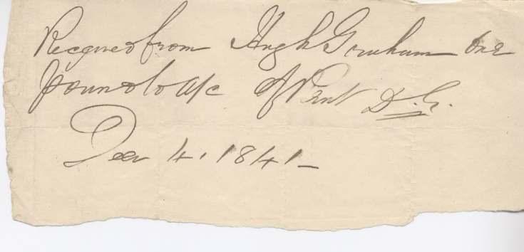 Rent receipt ~ Hugh Graham 1841