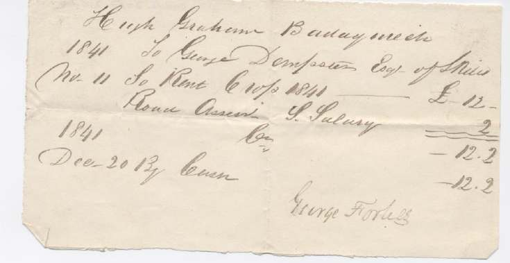 Rent receipt ~ Hugh Graham 1841