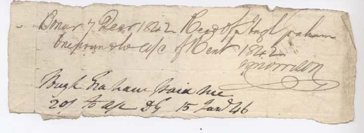 Rent receipt ~ Hugh Graham 1842