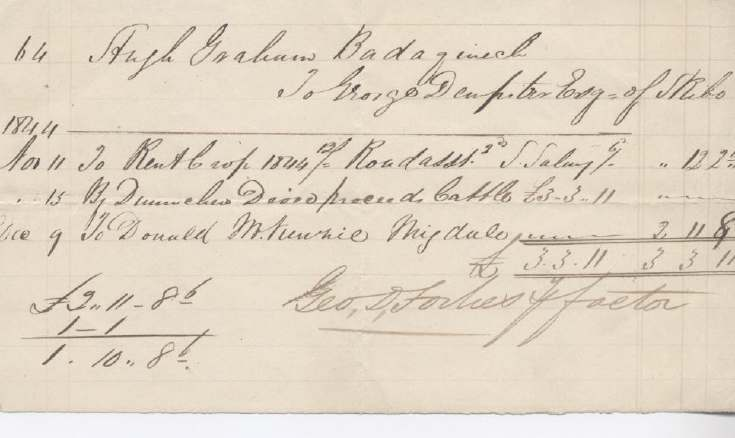 Rent receipt ~ Hugh Graham 1844