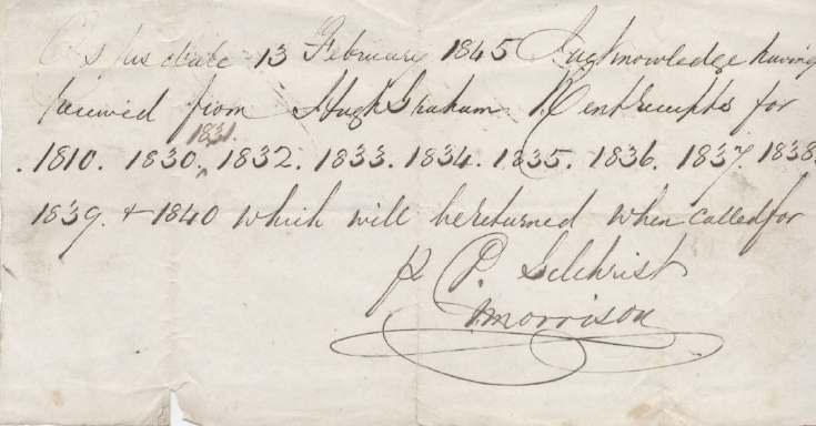 Receipt for rent receipts ~ Hugh Graham 1845