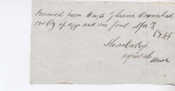Rent receipt ~ Hugh Graham 1845