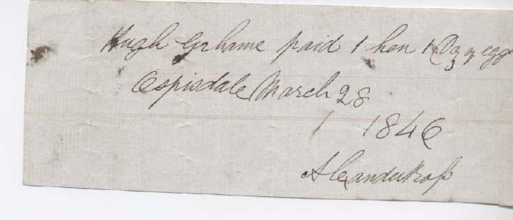 Rent receipt ~ Hugh Graham 1846