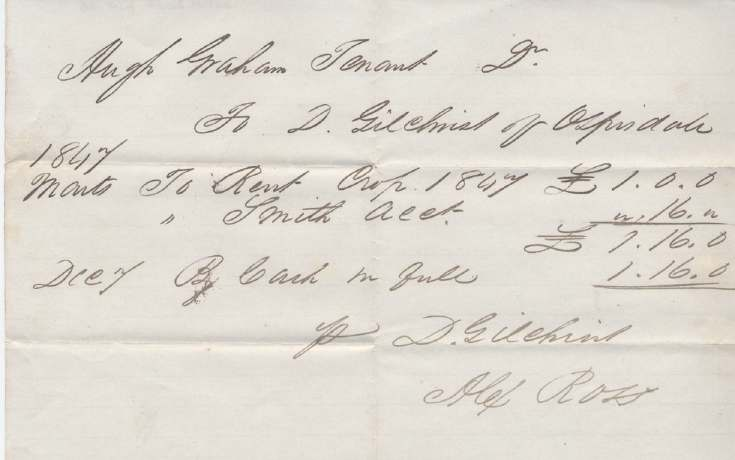 Rent receipt ~ Hugh Graham 1847