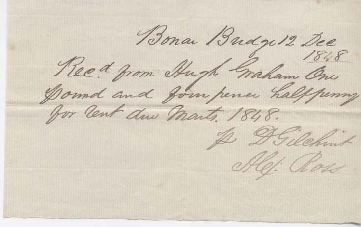 Rent receipt ~ Hugh Graham 1848