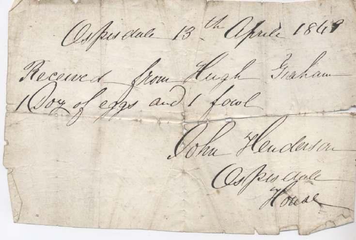 Rent receipt ~ Hugh Graham 1849