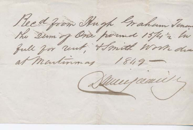 Rent receipt ~ Hugh Graham 1849