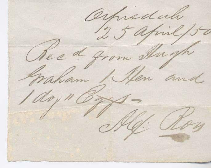 Rent receipt ~ Hugh Graham 1850