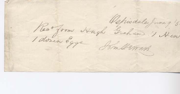 Rent receipt ~ Hugh Graham 1852