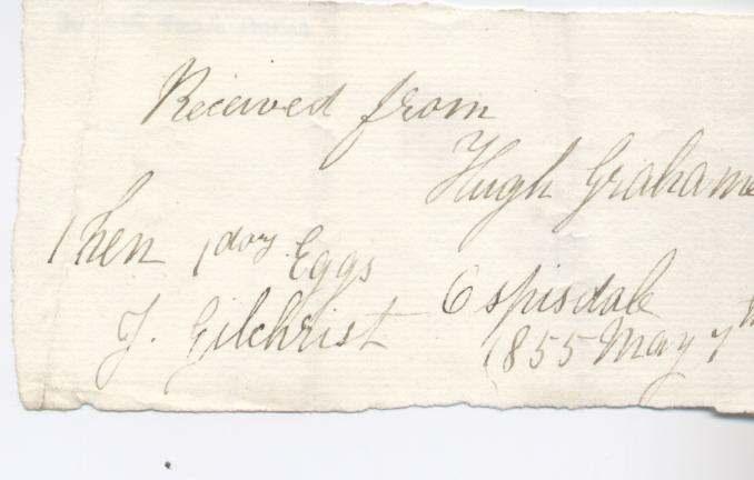 Rent receipt ~ Hugh Graham 1855
