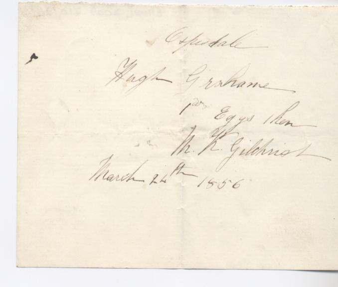 Rent receipt ~ Hugh Graham 1856
