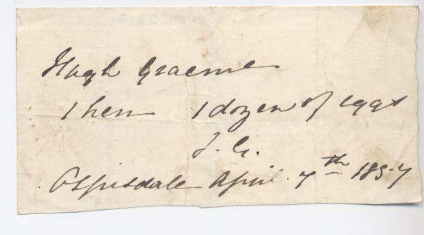 Rent receipt ~ Hugh Graham 1857