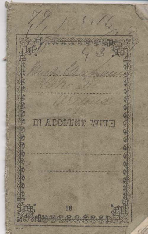 Rent receipt book ~ Hugh Graham 1860-1880