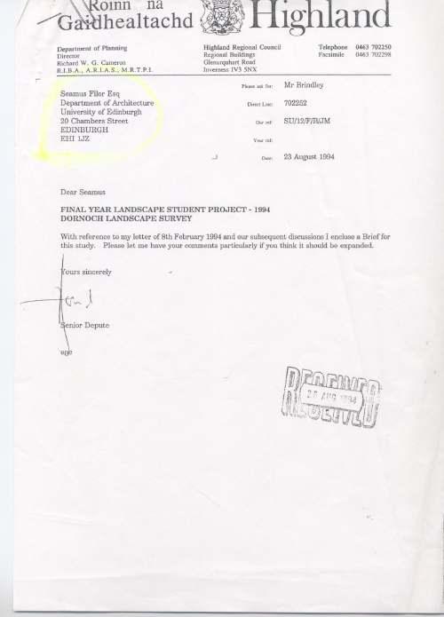 Letter re Dornoch Landscape Survey 1994